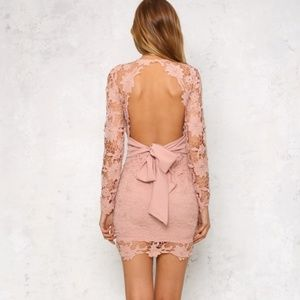 Blush pink long sleeve lace plunge bodycon dress